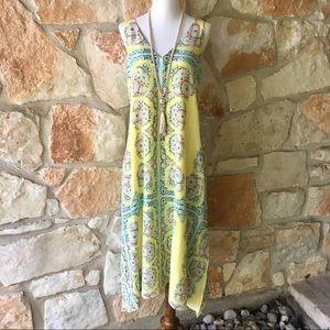 Nanette Lepore Yellow Silk Midi Dress